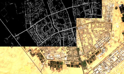 The image shows road predictions performed on Sentinel data for Cairo, Egypt; the results presented in black and white are the raw, soft-predictions, overlaid as a raster on the original satellite image. Image credits: The rasters are provided by the Sentinel-2 satellites under the CC BY-SA 3.0 IGO license.